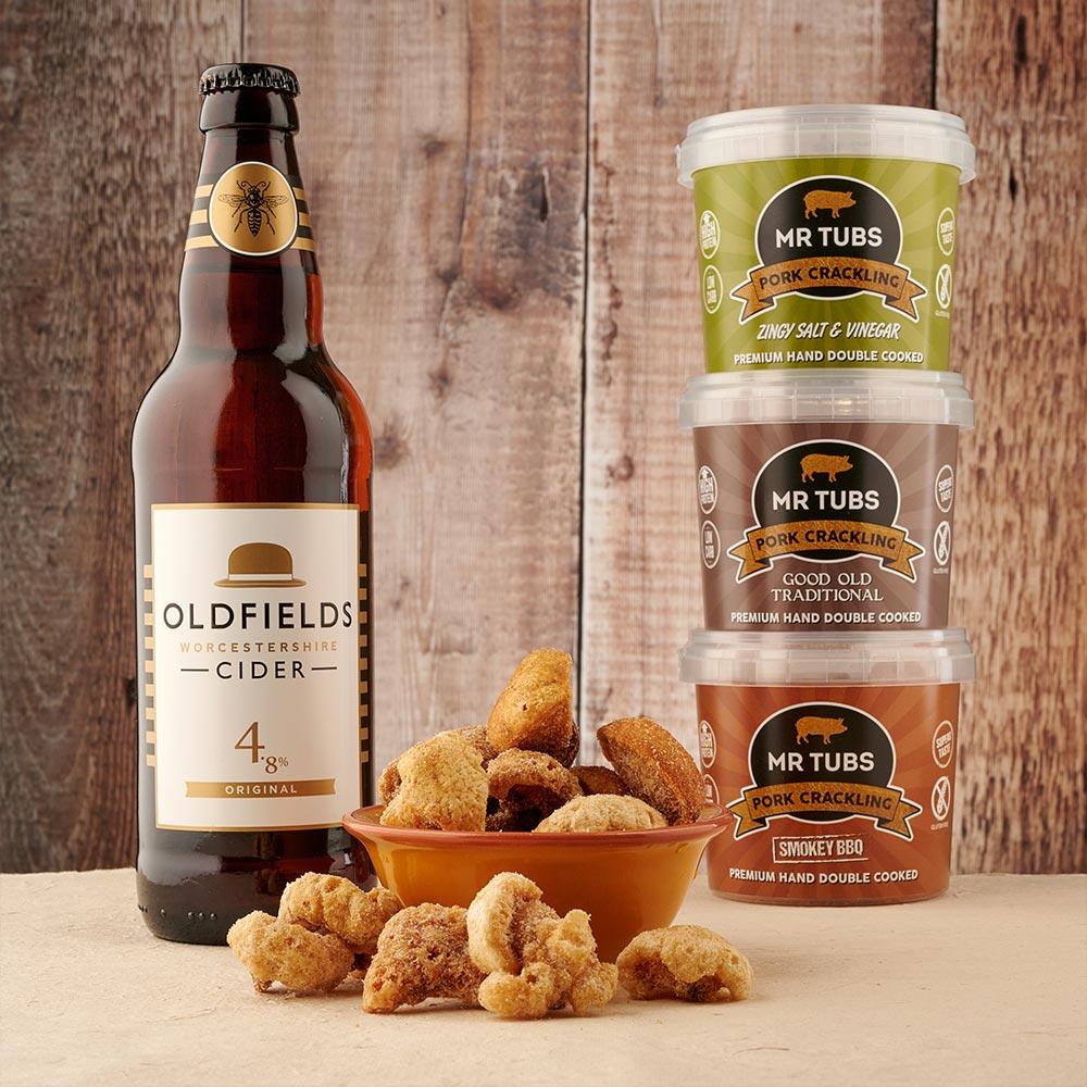 pork crackling and cider gift set by mr tubs pork crackling