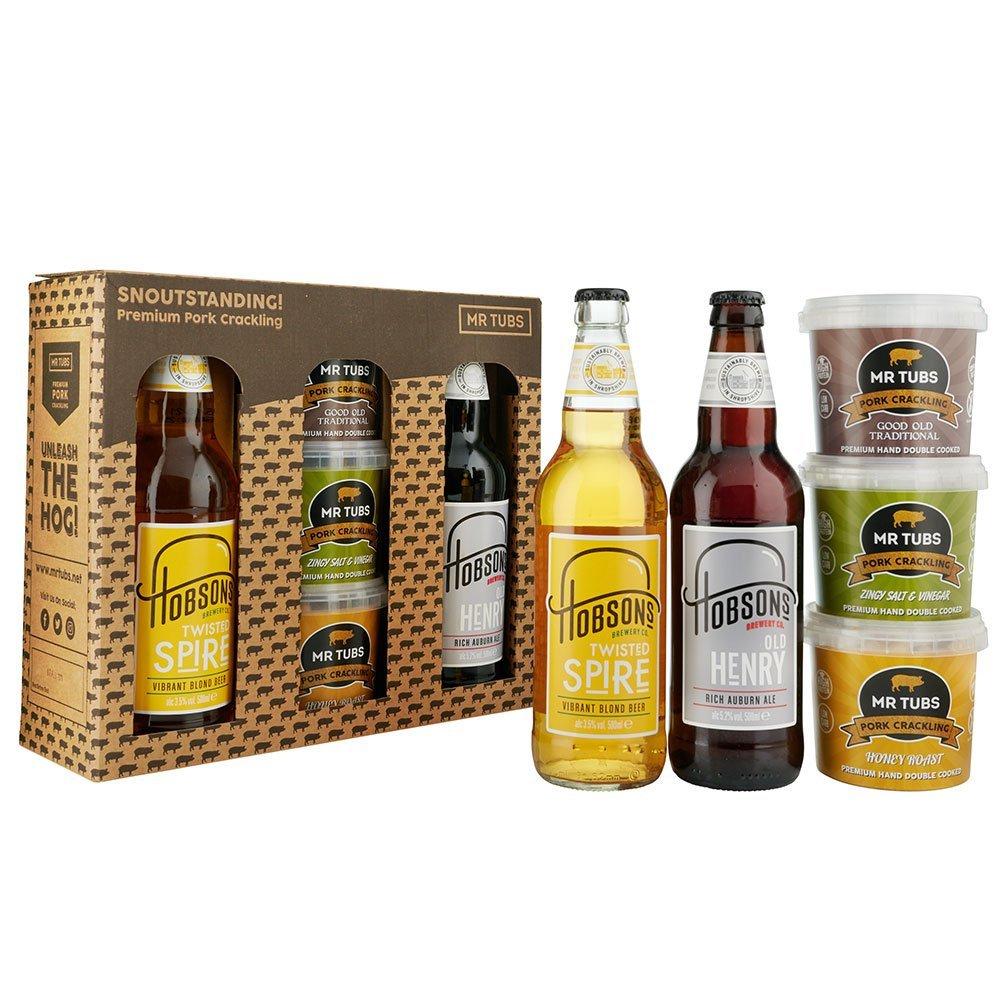 mr tubs beer and blonde beer pork crackling gift set