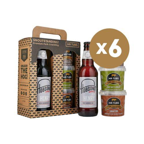 mr tubs pork crackling hobsons beer gift set - case of 6
